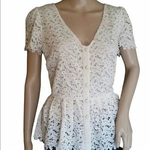 Anthropologie Two of Us Lace Blouse